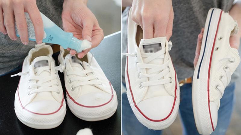 dùng axeton giặt giày trắng